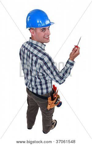 Worker with an awl