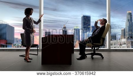 Business Co Workers Or Team Having A Meeting While Keeping 6 Feet Social Distancing For Coronavirus