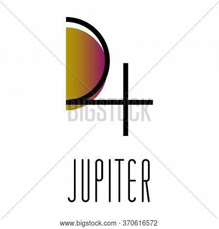 Planet Symbol, Sign Of Jupiter. Symbol Illustration Of Astrology Planet - Jupiter. Zodiac And Astrol