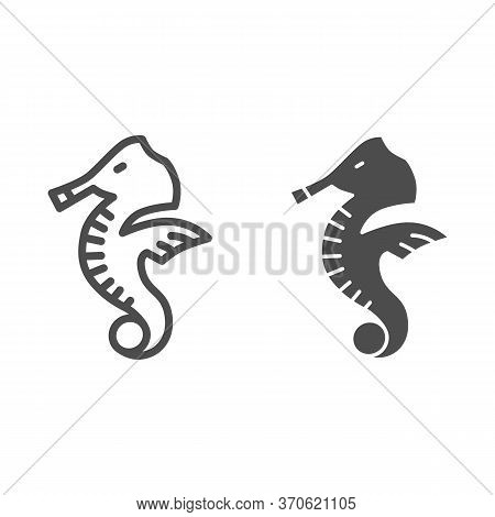 Seahorse Line And Solid Icon, Ocean Life Concept, Sea Horse Sign On White Background, Underwater Aqu