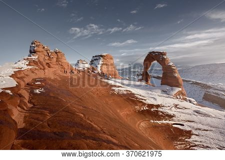Snow Scence Of Arches National Park, Utah, During Winter. Delicate Arch Trail.