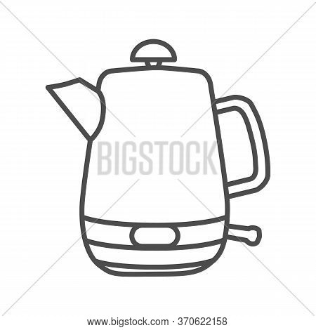 Electric Stainless Teapot Thin Line Icon, Modern Kitchen Utensils Concept, Modern Water Boiler Sign