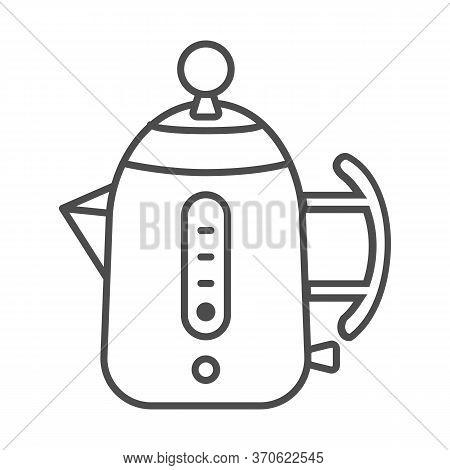 Modern Electric Teapot Thin Line Icon, Modern Kitchen Utensils Concept, Teakettle Sign On White Back