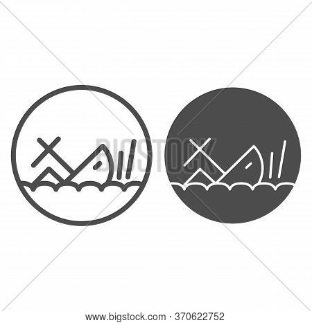 Shipwreck Line And Solid Icon, Marine Concept, Sinking Ship Sign On White Background, Ship Crash Ico