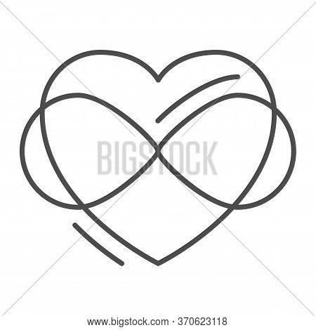 Infinity Sign In Heart Shape Thin Line Icon, Free Love Concept, Love Eternity Sign On White Backgrou