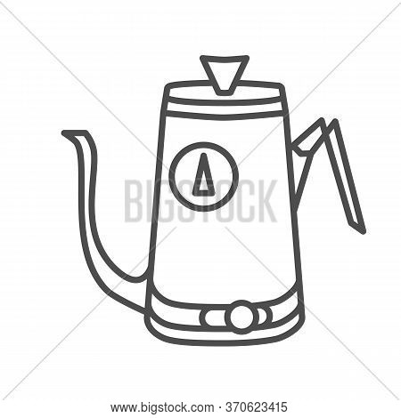 Kitchen Teapot Thin Line Icon, Kitchenware Concept, Electric Steel Water Heater Sign On White Backgr