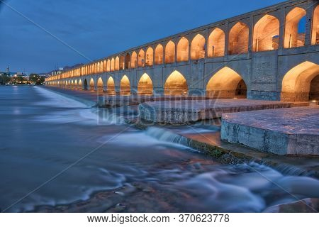 Isfahan, Iran - 2019-04-13 - Sie So Pol Bridge After Sunset During Blue Hour.