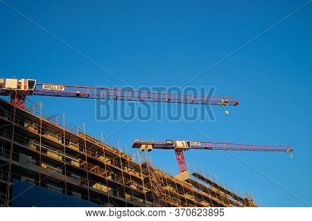 Berlin, Germany - May 31, 2020: Construction Site With Cranes And Scaffolding In The City Centre Of