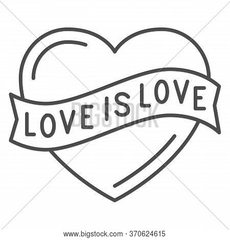 Love Is Love Heart Symbol Thin Line Icon, Lgbt Concept, Love Sign On White Background, Lgbt Heart Wi