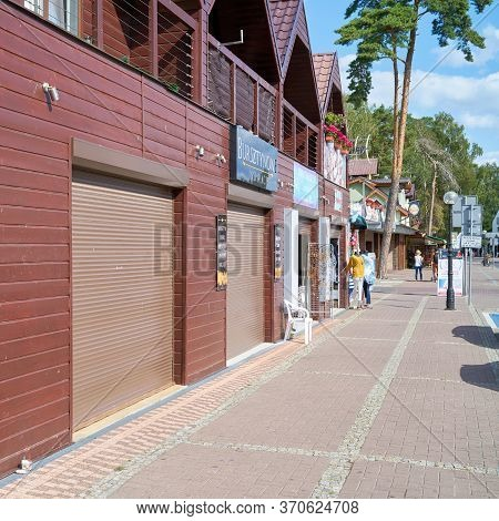 Niechorze, Poland - September 05, 2019: Closed Shops At The End Of The Holiday Season In Niechorze O