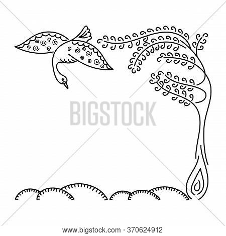 Beautiful Swan , Unusual Tree. Outline. Hand Drawn. Card Design Template, Invitations And More.