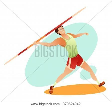 Cartoon Strong Muscular Sportsman Throwing Javelin. Sports And Gymnastic Competition. Tournament And