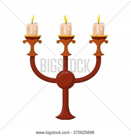 Candelabrum With Three Glowing Candles Isolated On White. Bronze Vintage Triple Armed Candle Holder.