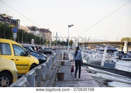 Budapest, Hungary - September 22 : Traveler Thai Women Walking On Footpath Riverside Of Danube River