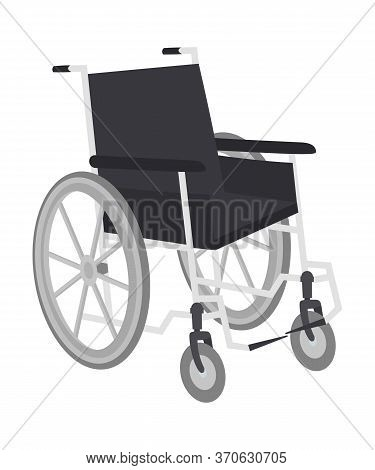 Wheelchair For Disabled Movement Isolated On White. Transport Chair Item Providing Mobility To Handi