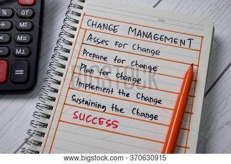Change Management Write On A Book With Keywords Isolated Wooden Table.