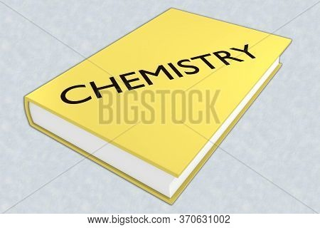 3d Illustration Of Chemistry Script On A Book, Isolated On Pale Blue Pattern.