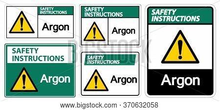 Safety Instructions Argon Symbol Sign Isolate On White Background,vector Illustration Eps.10