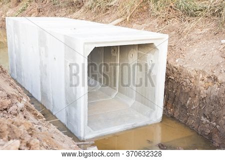 Large Size Square Concrete Manholes Are  Installed At Construction Site ; For Draining Storm Water O