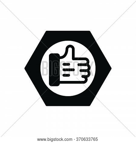Black Solid Icon For Trust Believe Confidence Verified Ok Thumb