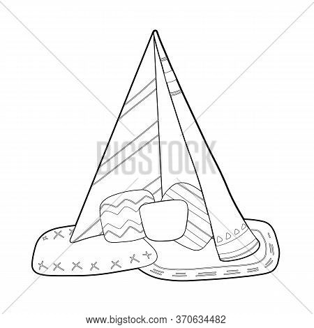 Outline Illustration Of Blanket House With Pillows And Poho Decoration. Stay Home. Game For Adults A