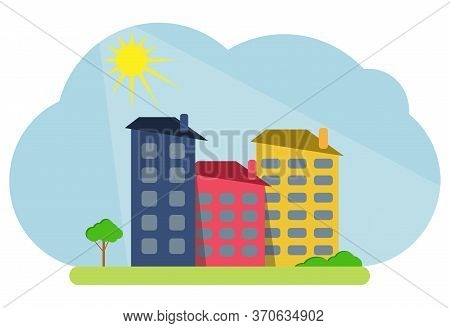 Cartoon Colored Houses With Shadows And Trees Against The Backdrop Of The Shining Sun. Decorative To