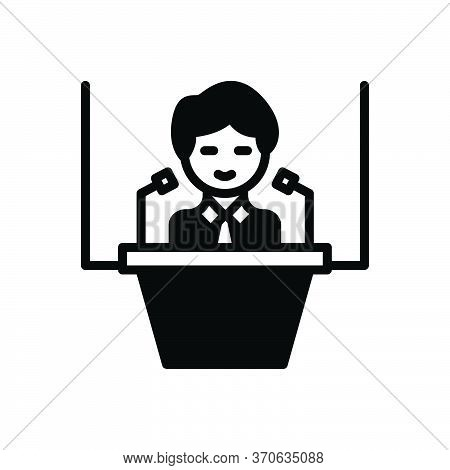 Black Solid Icon For Conference Convention Gathering Assembly Session Convention Speaker