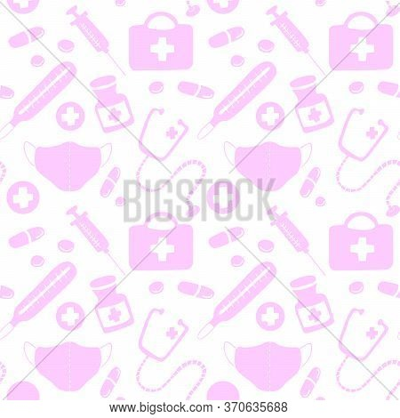 Seamless Pattern With Icons Medical Tools And Medicines - First Aid Kit, Syringe, Stethoscope, Therm
