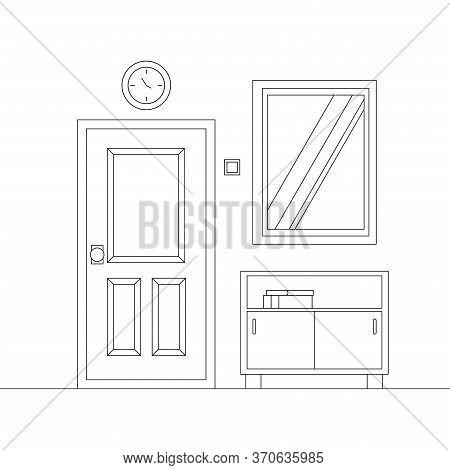 Cozy Line Art Home Entrance Hall Interior Background. Corridor Scene With Entrance Door And Furnitur