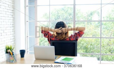 Work From Home, Stretch For Relax, Young Asian Woman Stretching Body While Working With Laptop Compu
