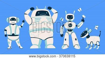 Different Robots Set. Futuristic Humanoid, Cyborg, Dog Isolated On Blue Background. Flat Vector Illu