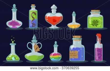 Elixir Bottles Set. Cartoon Magic Jars With Potion, Glass Chemical Vials With Corks On Black Backgro
