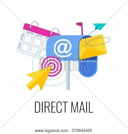 Direct Mail Icon. Outbound, Inbound Marketing. Envelope Is In Mailbox. Message In Mail. Strategy, Ma