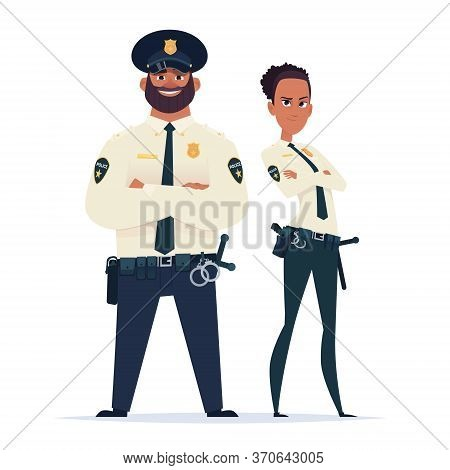 Police Officer Couple In The Uniform Standing. Police Characters. Public Safety Officers. Guardians