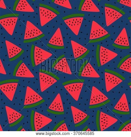 Watermelon Seamless Pattern. Hand Drawn Fresh Berry Slice. Vector Sketch Background. Print For Kitch
