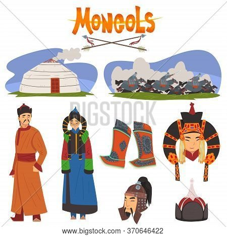 Mongol People In Traditional Clothing Collection, Central Asian Characters, Dwelling, Nomad, Asian W