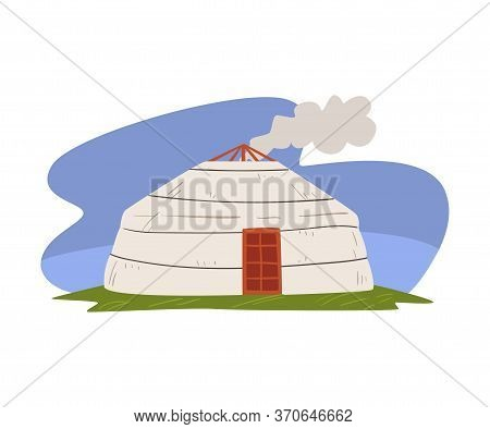 Mongolian Yurt, Nomadic Dwelling Of Asian People Vector Illustration