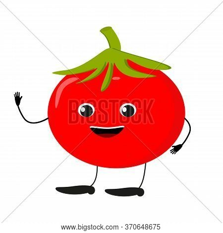 Cute Happy Tomato Characters. Vector Flat Illustration Isolated On White Background. Doodle Characte