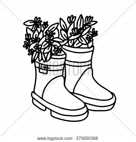 Flowers In Rubber Boots. Rubber Boot With Flowers. Vector Illustration Of Spring Flowers In A Garden