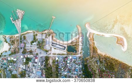 Aerial View Of Thongsala Town From Top View With Light Fair At Phangan Island,thailand