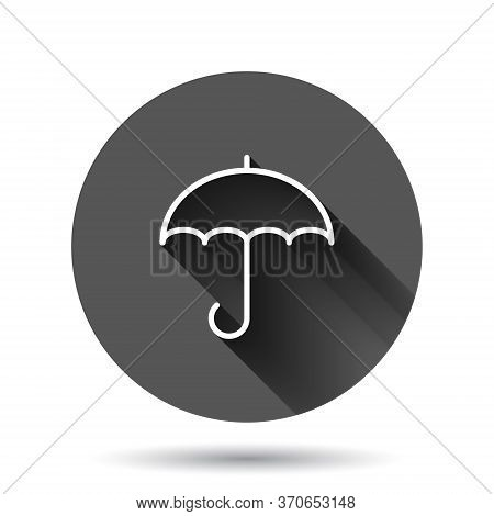 Umbrella Icon In Flat Style. Parasol Vector Illustration On Black Round Background With Long Shadow