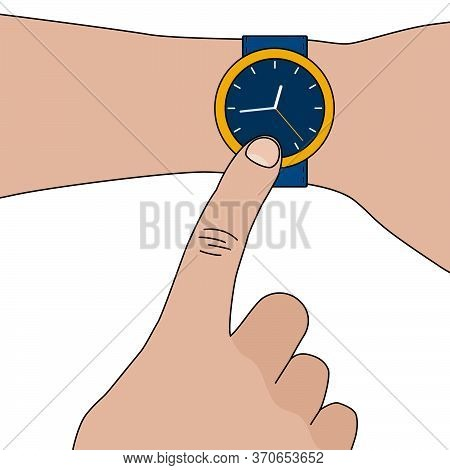 Simple Yellow Stylish Wristwatch With Blue Strap Without Numerics On Hand. Vector Flat Illustration