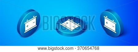 Isometric Car Battery Icon Isolated On Blue Background. Accumulator Battery Energy Power And Electri