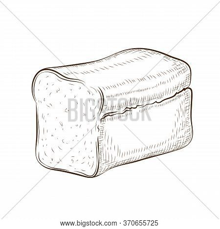 Square Bread Isolated On White. Hand Drawn Traditional Wheat, Rye Or Whole Grain Loaf Doodle Icon. F