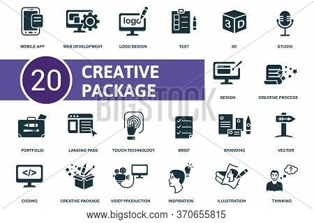 Creative Package Icon Set. Collection Contain Brief, Inspiration, Test, Vector And Over Icons. Creat