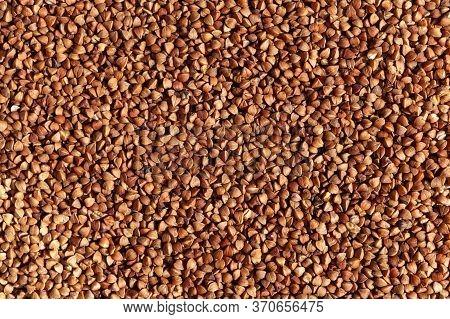 Photo Food Buckwheat Groats. Texture Background Grain Buckwheat Groats.diet Concept. Background Text