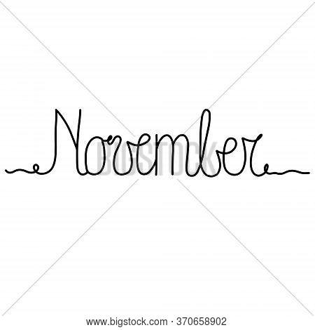 Hand Drawn Lettering Phrase November. Month November For Calendar. Ink Brush Lettering For Winter In