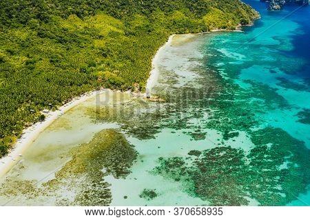 Cadlao, El Nido, Palawan Island, Philippine. Aerial Drone View Of A Tropical Island Coastline, Coral