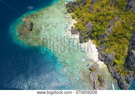 Shimizu Island, El Nido, Palawan, Philippines. Beautiful Aerial View Of Tropical Island, Sandy Beach