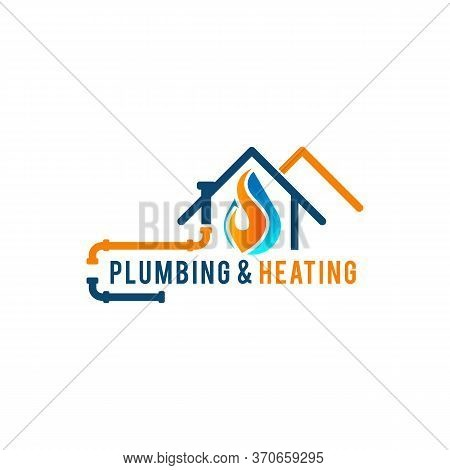 Plumbing Service Logo With House And Water Drop